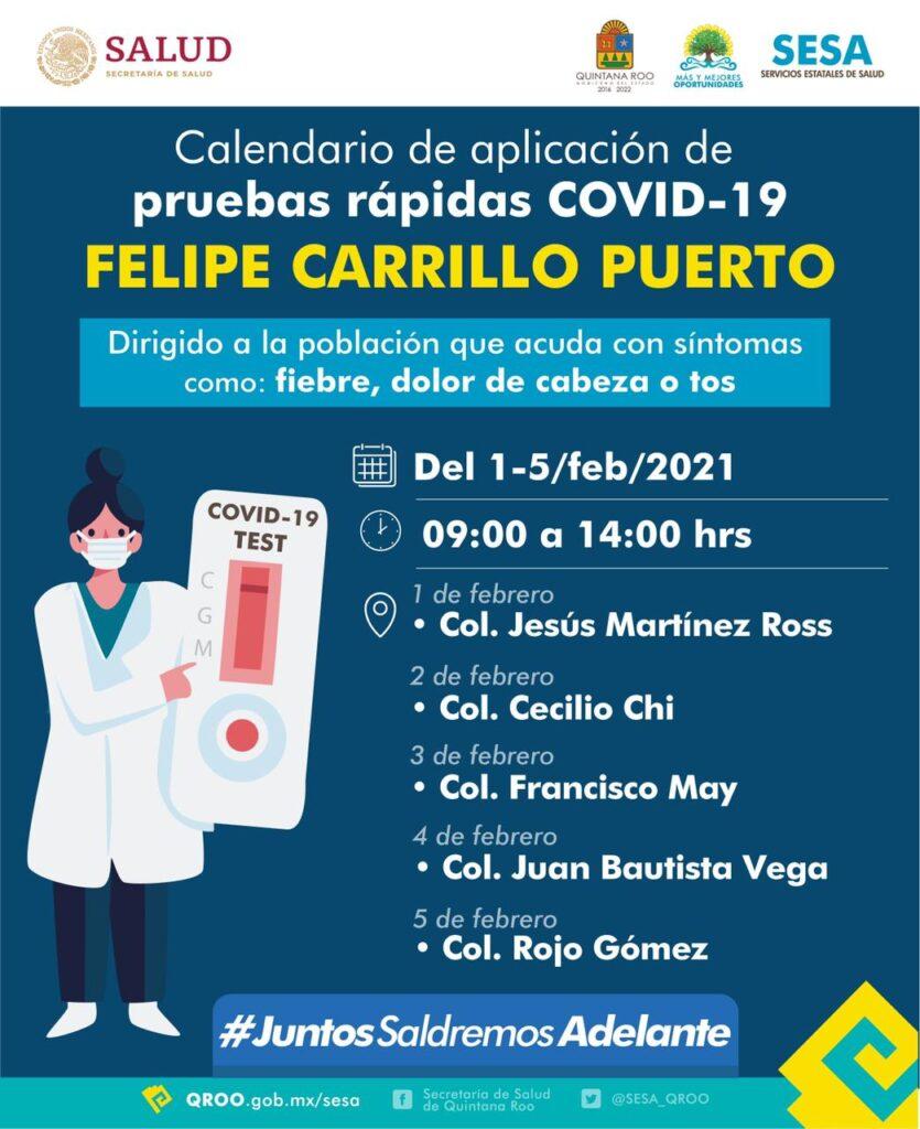 Calendario de aplicación de pruebas rápidas del 3 al 15 de febrero